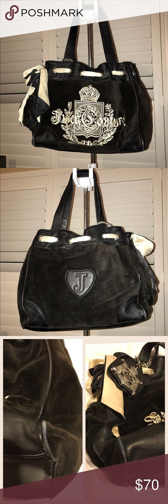 Juicy Couture Handbag Preowned This is my Juicy Couture Handbag in good condition. I had this bag for 9 years now & used it a lot the 1st year. Cute just a carry on or a diaper bag. Dimensions are 13x10x6 ribbon is kinda dirty but u can take it off and clean it . Super cute Velvet Material. Bought it New for $200 way back & I just wanna get rid of it. Please check the bottom of the bag as u can see the metal peeling off but has no holes. Other than that it's in good used condition & has lots…