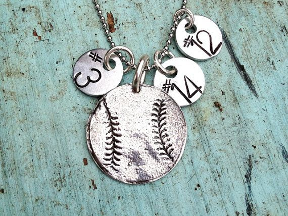Sterling Silver Baseball Softball Necklace with by sosobellatoo, $48.00