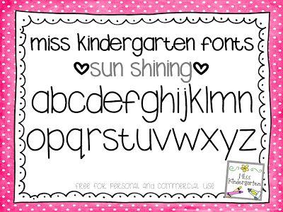 Miss Kindergarten: Fun Free Fonts!