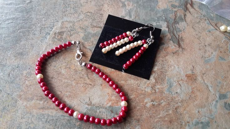 Ruby Red Pearl with Pearl Detail, Handmade, Bead Bracelet with Double Dangle Pearl Earrings, Ladies Jewellery Sets, Wedding, Gift for Her by SpryHandcrafted on Etsy
