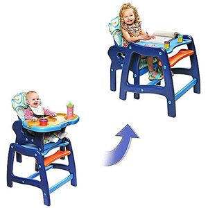 Coolest highchair eva!    Badger Basket - Envee Baby High Chair with Playtable Conversion, Blue