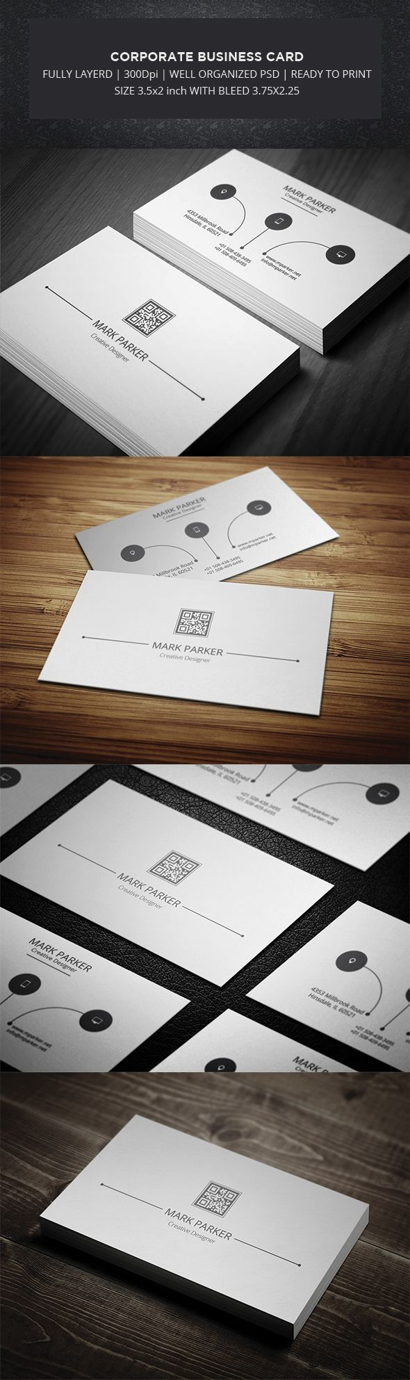 Corporate Identity Business Card comes with simple and minimal professional design.