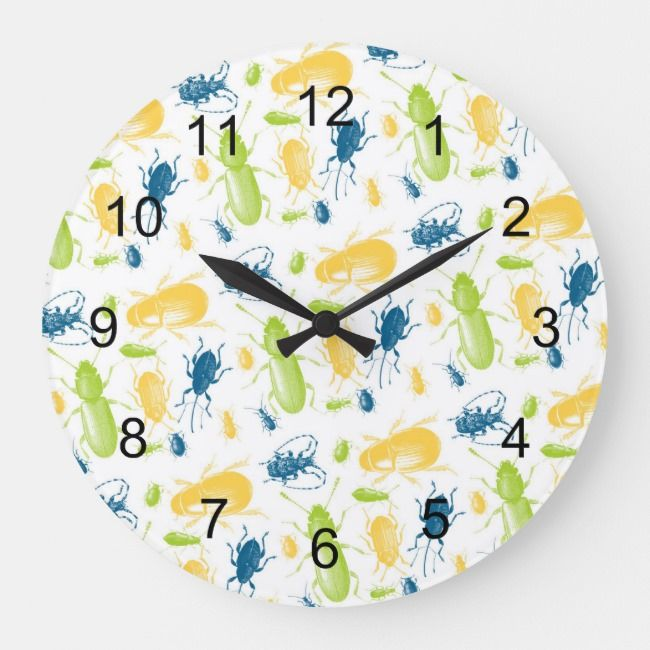 Insects And Bugs Boy Playroom Bedroom Nursery Deco Large Clock Zazzle Com In 2021 Nursery Deco Boys Playroom Large Clock