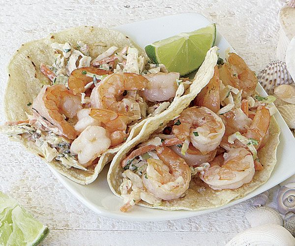 Shrimp Tacos with Spicy Cabbage Slaw. Simple & delicious-- would also be great with sweet or salty pulled pork.