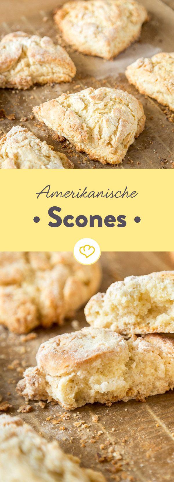 Das Geheimnis von amerikanischen Scones? Eine Handvoll Zucker, ein Schuss Sahne und eiskalte Butter - vor dem Kneten unbedingt in das Gefrierfach geben.