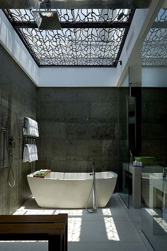 Concrete glass and a beautiful skylight ceiling