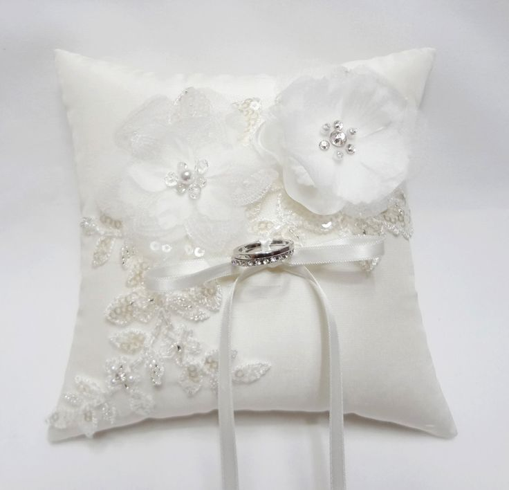 Wedding ring pillow - off white ring pillow, flower ring pillow, ring bearer pillow by MirinoBridal on Etsy https://www.etsy.com/listing/120542489/wedding-ring-pillow-off-white-ring