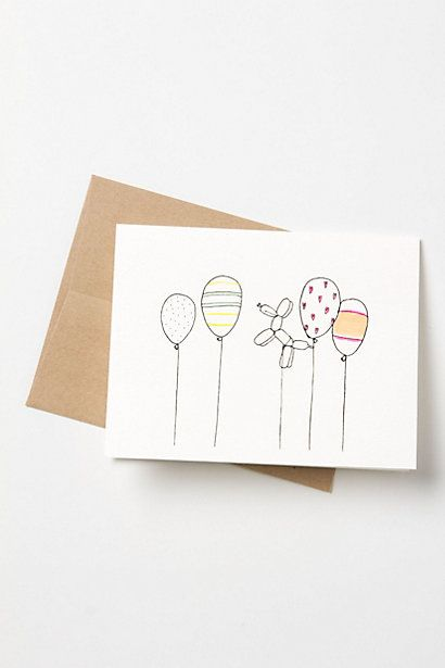 Birthday Balloons Card #anthropologie for $6.00!! I can so make this with a blank card and inks.