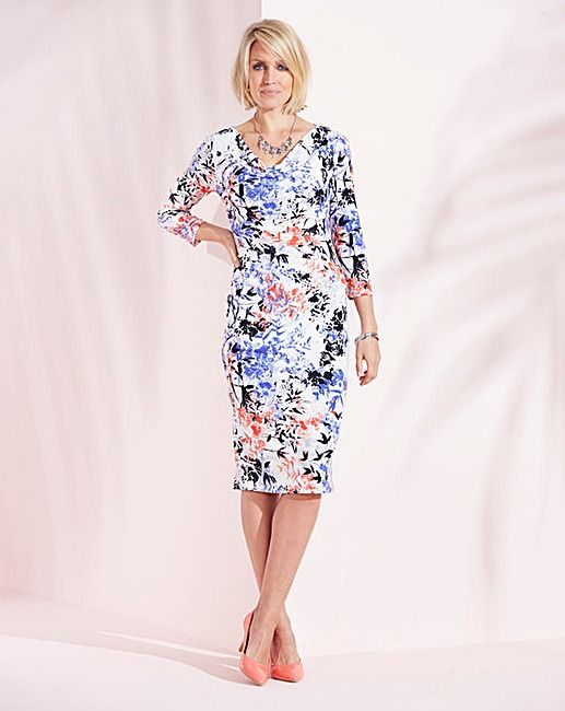Nightingales Cowl Neck Printed Dress | Oxendales