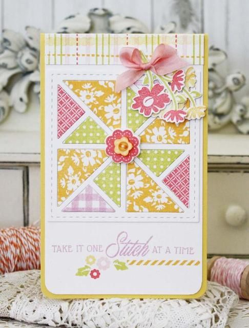 One Stitch at a Time...Card, Quilted Summer Stamp and Die Set, PTI