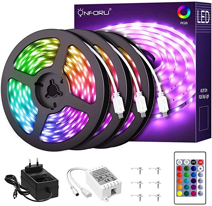 Amazon Com Onforu 50ft Rgb Led Strip Lights Kit 15m Flexible Color Changing Lights Strip 450 Units In 2020 Led Strip Lighting Rgb Led Strip Lights Led Rope Lights