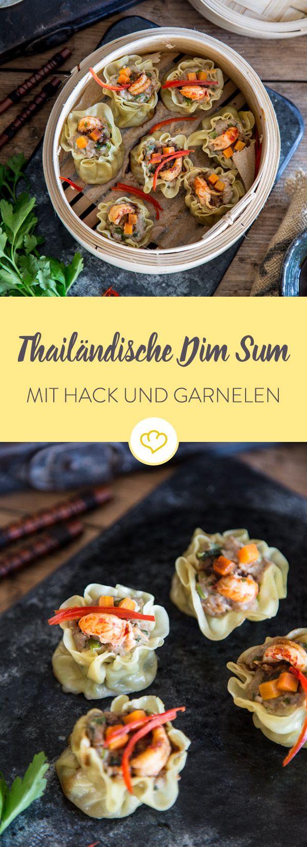 Diese feinen Happen mit Hack, Garnelen, Maronen und Soja-Dip katapultieren dich in den kulinarischen Himmel. Ideal als Vorspeise.