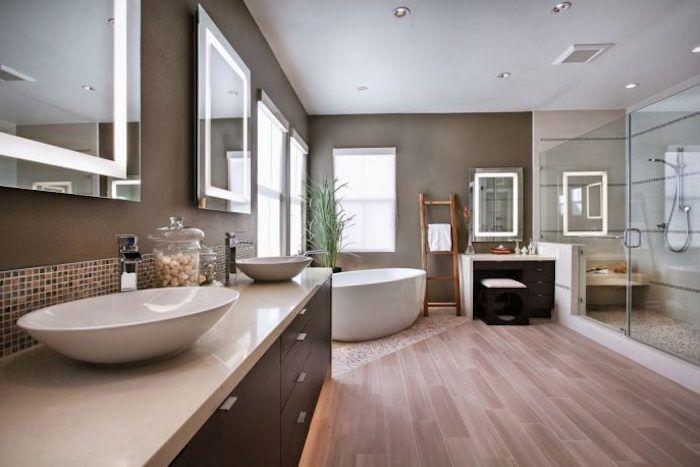 566 besten badezimmer ideen fliesen leuchten dekoration bilder auf pinterest - Parquet salle de bain blanc ...