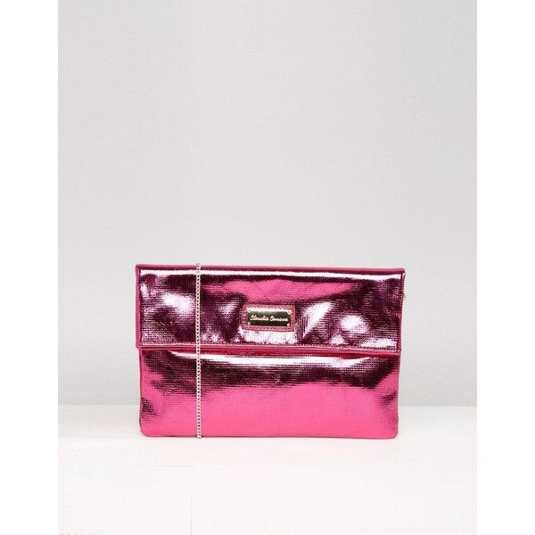 Claudia Canova Flap Over Clutch Bag ($33) ❤ liked on Polyvore featuring bags, handbags, clutches, pink, pink metallic handbag, flap purse, metallic purse, flap handbags and metallic handbags
