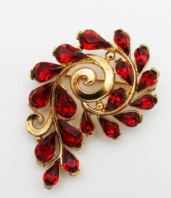 Vintage Trifari Signed Ruby Red and Gold Brooch by HeirloomBandB, $35.00