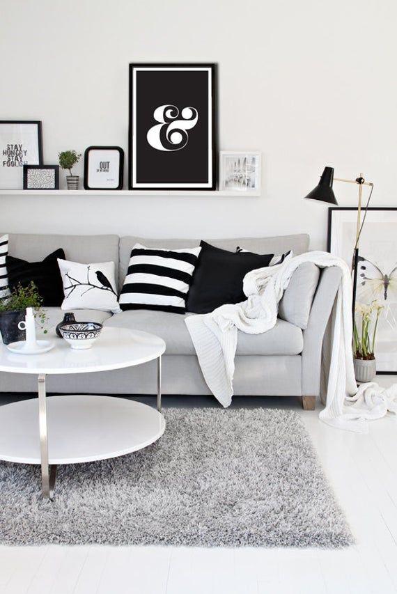 Ampersand Black White Typography Digital Art Print Etsy Black Living Room Decor White Living Room Decor Modern Living Room Black