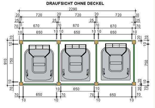 Mülltonnenhaus Draufsicht ohne Deckel (Diy Bar Outdoor)