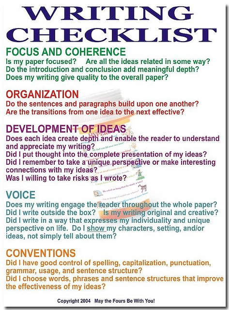 creative writing checklist The department of english also offers minors in english, creative writing and professional writing and houses interdisciplinary checklist creative writing.