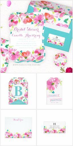 Modern Summer Pink Floral Turquoise Bridal Shower Invitation Collection | Modern design featuring hand painted pink flowers in bright hot pink, bright green leaves and turquoise berries.