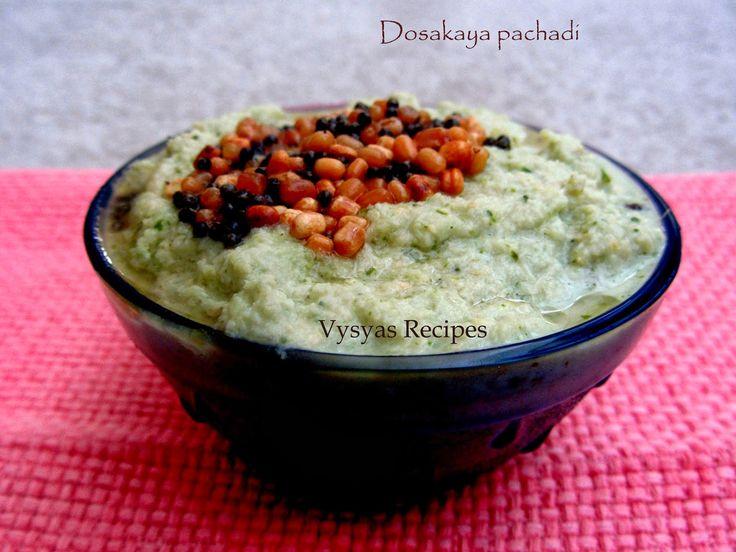 Vysya's Delicious recipes: Dosakaya pachadi - Cucumber Chutney - Cucumber Pachadi