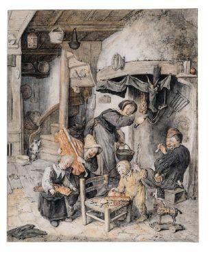 Een vrolijke 'morgen' in 1687,  Cornelis Dusart. Sint Nicolaas ochtend in een eenvoudig gezin. Een bijzonder detail zijn de drie letters die op het stoeltje liggen: een T, een B en een D van suikergoed of koek. Zouden het de intitialen van de drie kinderen kunnen zijn? Het geeft in ieder geval aan dat in de zeventiende eeuw al snoepletters gebruikt zijn op het feest van Sint Nicolaas. d520429r.jpg (308×380)