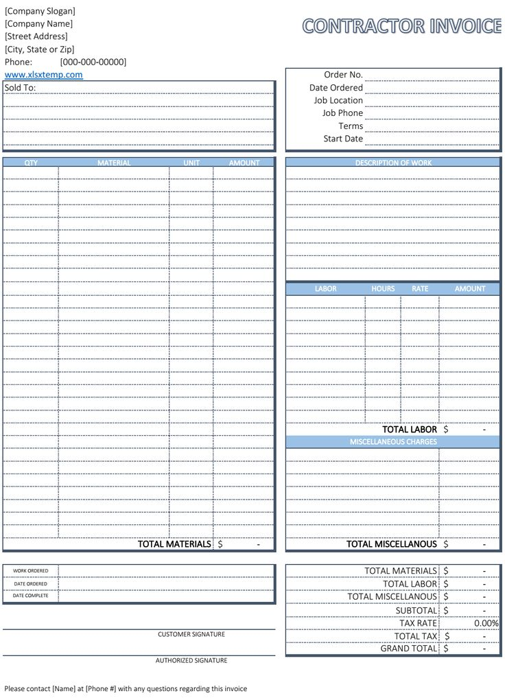 Free Contractor Invoice Template  Business Invoices