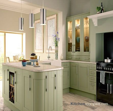 Wickes - Tiverton Sage. The subtle green colouring of Tiverton Sage conveys class and sophistication whilst bringing an air of calm to your kitchen. Click here for more information - http://bit.ly/1RoKbic
