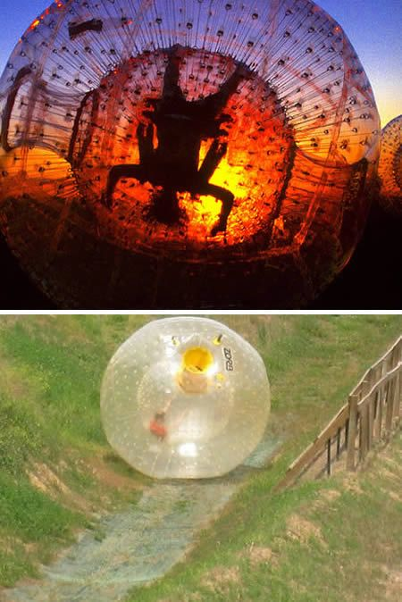 invented in 2000, involves a giant plastic ball, which has two skins, one inside the other. The person zorbing is in the area between the skins, which is pumped up with air. The middle ball effectively suspends them on a cushion of air 700mm off the ground and the ball is then rolled down a hill