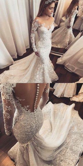 Mermaid Wedding Dresses,Illusion Wedding Dresses,Long Sleeves Wedding Dresses,Appliques Wedding Dresses,Wedding Dresses 2019 , D0148