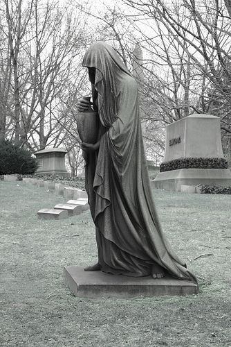 Cemetery statues owing ghost walks at night in cemetary and seeing this would scare the crap out of me.