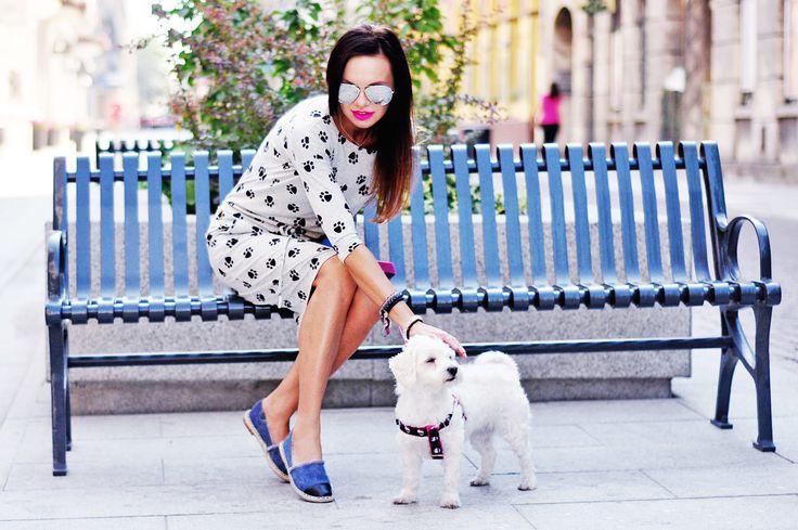#dress #print #footmarks #animal #dog #pet #espadrilles #shoes #jeans #denim #fashion #outfit #ootd #blogger  www.stylowebuty.pl