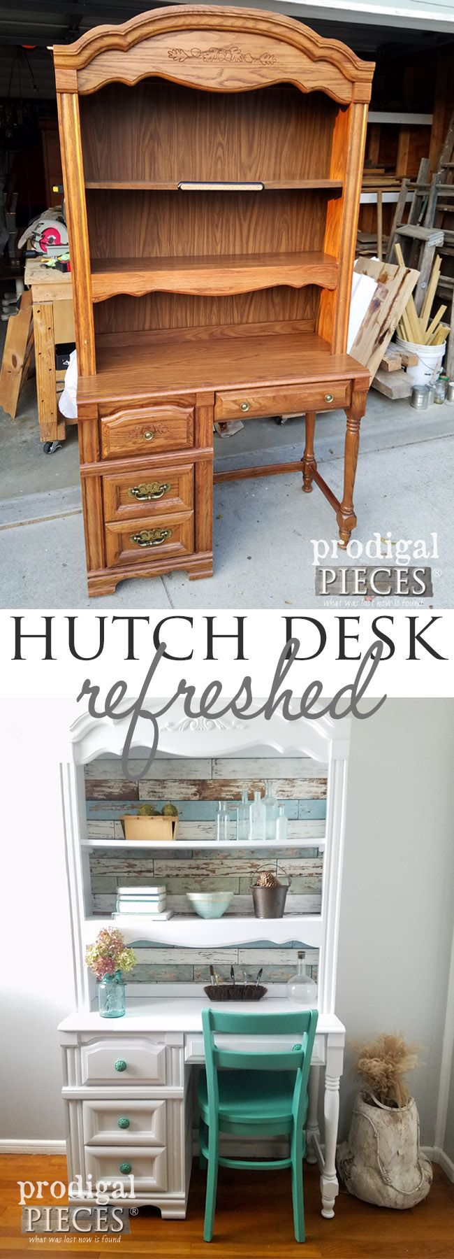 Broyhill Hutch Desk Refreshed with Removable Wallpaper