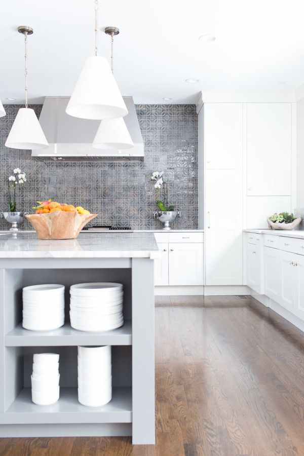 Kitchen | Alexis Bednyak. Simple white cabinetry and interesting pattern detail in splash back tile