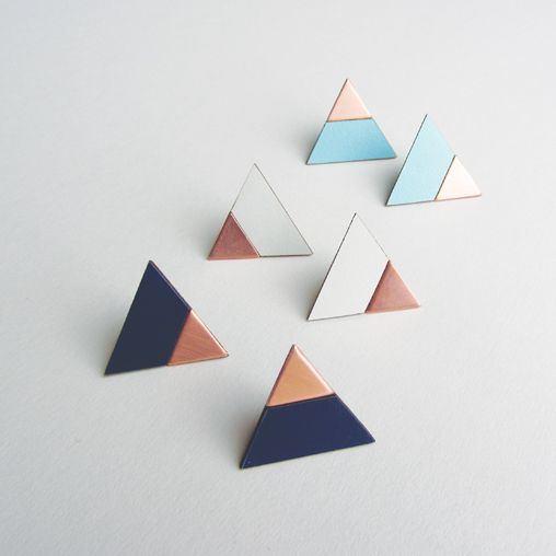 Copper and Formica triangle earrings. Collection 2014