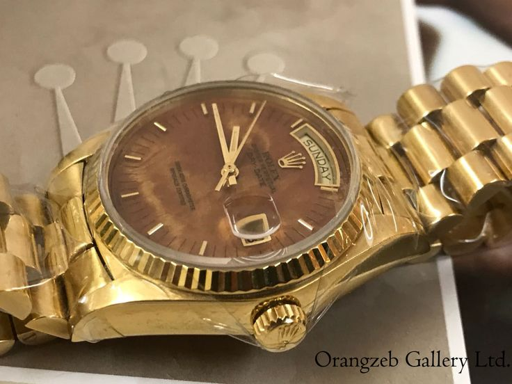 Rolex Oyster Perpetual 18038 Day-Date 18 KT Yellow Gold wood dial, 1984. Available now. worldwide shipping. % genuine, £8,900. info@orangzebgallery.com Beautiful antique rare model, very hard to find, excellent condition. #watchlondon #uk #antiquewatch #fashion #rolex #oysterperpetual #18kgold #gold #wooddial #daydate #worldwide #world #shipping #sale #offer
