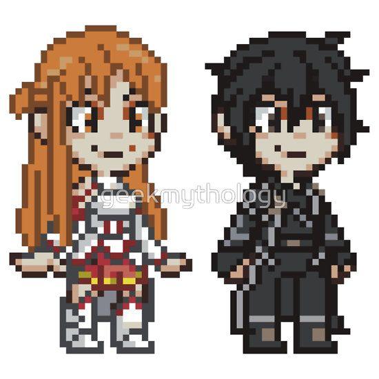 sword art online asuna and kirito pixel art characters by geek