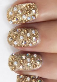 @Andrea / FICTILIS Fulerton @Danielle Magazine  Amazing new nail art using the gorgeous Gold Nail Studs, Crystal Gemstones and Pearl Nail Studs- recreate this look using Andrea's products sold in Superdrug!
