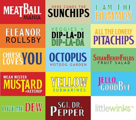 Beatles Menu Cards digital download by LittleWinksPaperie on Etsy