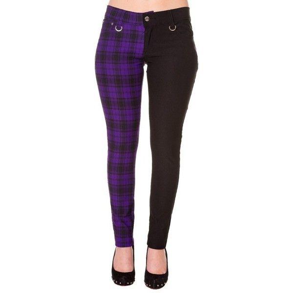 Womens Purple Banned Half Tartan Plaid Check Emo Punk Split Leg Skinny... ❤ liked on Polyvore featuring pants, plaid pants, wide-leg trousers, plaid trousers, tartan pants and checkered pants