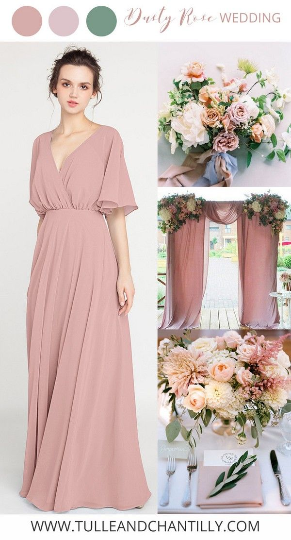 I Like The Dusty Pink For The Bridesmaids It Will Suit The Autumn Wedding While Still Being Romanti Dusty Pink Bridesmaid Dresses Bridesmaid Blush Bridesmaids
