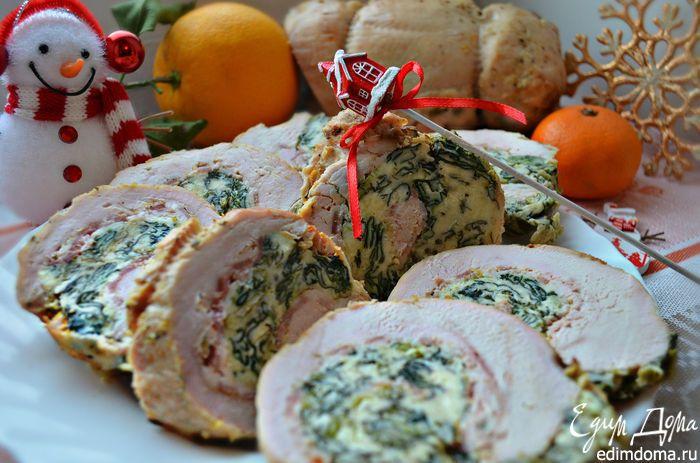 Новогодний рулет из индейки | Кулинарные рецепты от «Едим дома!»