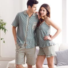 Pajamas Women Summer Love Sleepwear Mens Pyjamas 100% Cotton Polka Dot Ladies Sexy Vest Women's Lounge Couple Pajama Set XXL