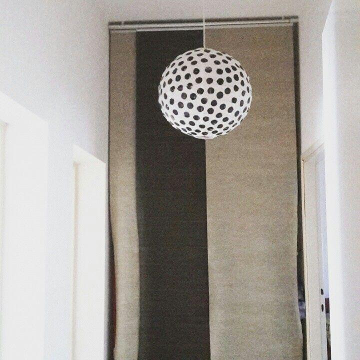 Diy polka dot paper lamp ikea hack