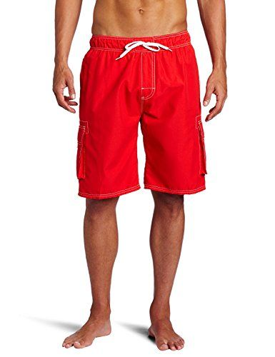 b53be4993e Men's Quick Dry Short Swim Trunks Cargo Water Shorts Beach Swimsuit With Mesh  Lining (Red, Large)