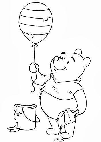 desenho de ursinho pooh com balão e lata de tinta
