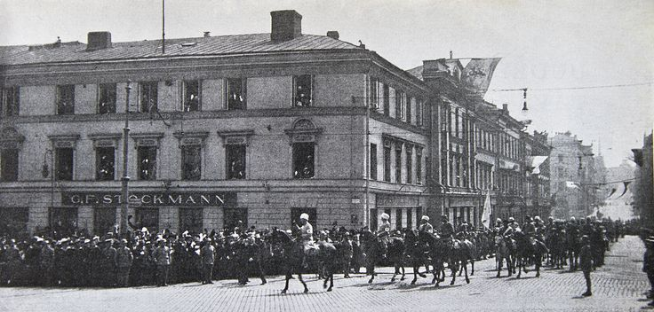 General Mannerheim marching front of Stockmann department store in the hous of Kiseleff in Helsinki, 16 May 1918 - Stockmannin Helsingin keskustan tavaratalo – Wikipedia