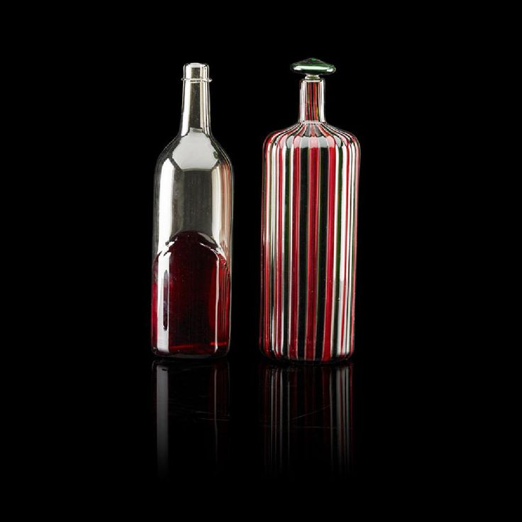 Lot: GIO PONTI; VENINI Two glass bottles, Lot Number: 2096, Starting Bid: $750, Auctioneer: Rago Arts and Auction Center, Auction: Modern Ceramics and Glass, Date: January 22nd, 2017 UTC