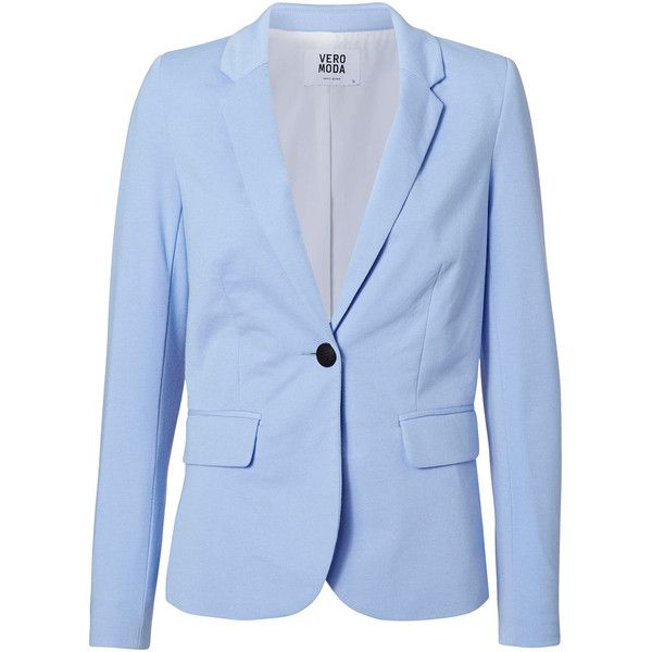 Vero Moda Long Sleeved Fitted Blazer (49 AUD) ❤ liked on Polyvore featuring outerwear, jackets, blazers, blazer, vero moda jackets, blue jackets, blazer jacket, vero moda blazer and blue blazers
