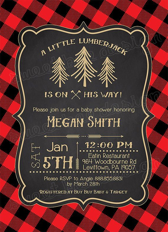 Lumberjack Baby Shower Invitation Baby Boy Woodsy Invite