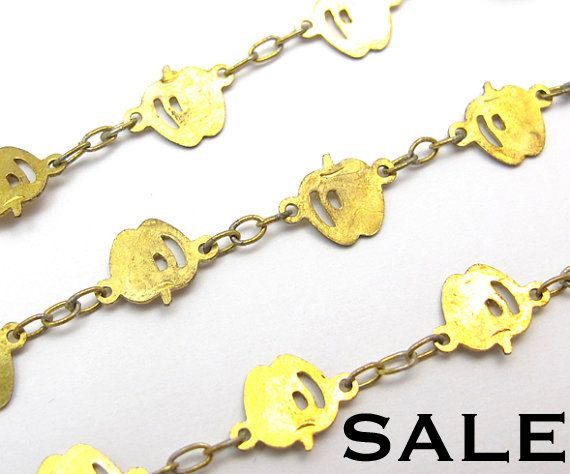 [SNOW WHITE]  Vintage Brass Apple Chain Necklaces 2X C653 SALE  by EpochBeads